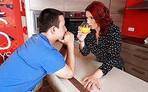 Hot ginger haired housewife deepthroats pink cigar and gets torn up