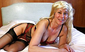 Horny housewife pleasuring herself