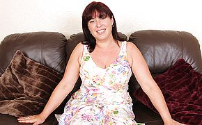 Fur covered obese housewife toying with herself