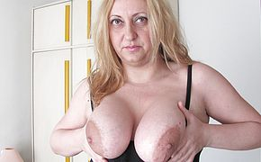 Obese thick jugged mama frolicking with a plaything