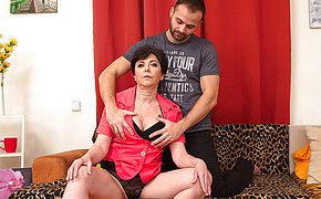 Naughty housewife drilling with her paramour