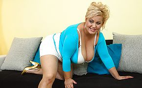 Thick jugged curvaceous housewife frolicking by herself