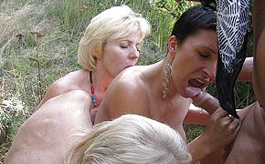 Mischievous mature groupsex in the forest