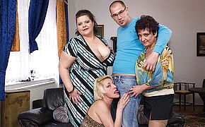 Trio mature girls humping and deepthroating a toyboy