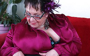 Yam sized boobed Brit mature Plumper frolicking all by herself