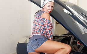 Super naughty mature nymph mechanic getting lubricious in her garage